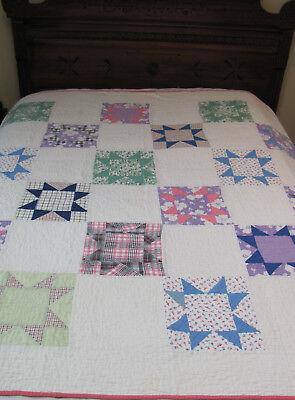 1920s Hand-Stitched PRIMITIVE CALICO Pennsylvania GINGHAM FEEDSACKS STAR QUILT
