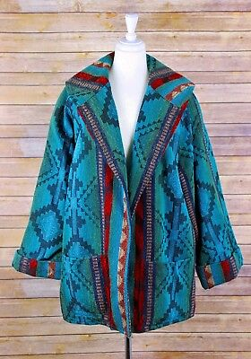 Vintage Womens Indian Blanket Coat L XL Southwest Swing Open Front Shawl Collar