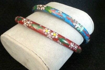 2 Vintage Antique Chinese Cloisonne Glass Bangle Bracelet with Flowers