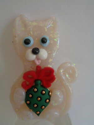 Hand Sculpted~~White Snowflakes Kitty Cat & Christmas Ornament Art Pin Brooch***