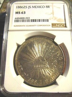 Mexico 1886 Zs Js 8 Reales Ngc Ms 63