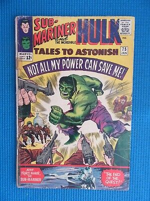 Tales To Astonish # 75 - (Gd/vg) - Hulk,sub-Mariner-Not All My Power Can Save Me