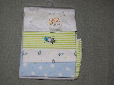 Just One You Baby 4 Pack Cotton Flannel Receiving Swaddle Blanket Star Rocket