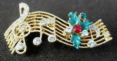 Music Clef and Notes w Holly Pin Brooch Christmas Swarovski Crystals Rucinni