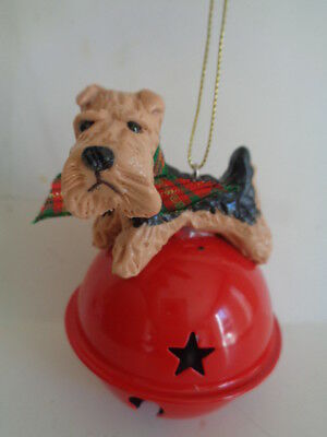 Hand Sculpted****airedale Terrier Red Metal Jingle Bell Christmas Ornament*****