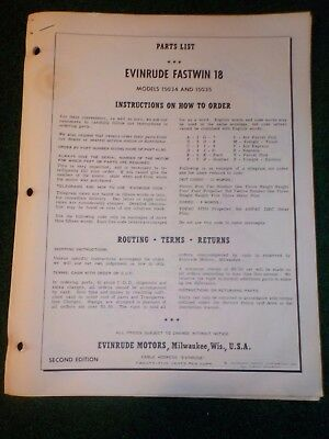 1961 OMC Evinrude Outboard Parts Catalog Manual 18 HP Fastwin DEALER FACTORY