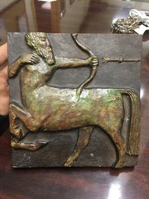 Vintage Old Numbered Terra Cotta? Pottery Tile Of A Centaur, Very Cool Mythical