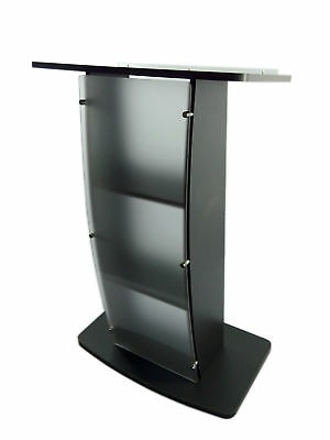 Church Conference Pulpit Lectern Podium Curved Frosted Front Acrylic Wood