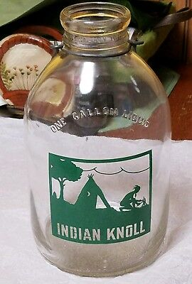 Early gallon INDIAN KNOLL milk bottle, great graphics, either PA. or Ohio