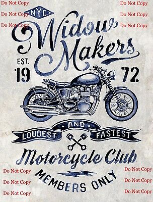 Widow Makers Motorcycle Club 8X10 Photograph Photo Man Cave Sign Photo BAR Pub