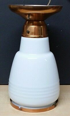 Vintage Antique Skyscraper Copper Ceiling Light Fixture Milk Glass Globe