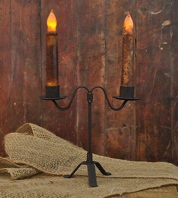 Rustic Double Taper Candle Holder In Black Wrought Iron 7 Inches Tall