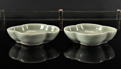 Antique Chinese Qing Dynasty Celadon Porcelain Lobed Brush Washer Bowl Pair