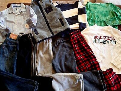 Boys Size 8 fall Winter Clothes Lot of 10 Holiday outfits Levi,Oshkosh,Lands End
