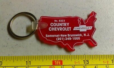 Vintage Country Chevrolet Somerset New Brunswick NJ Advertising Key Chain Rare