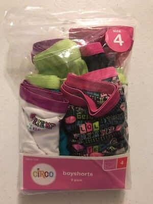 NEW Circo 9 Pack Girl's Size 4 Boyshort Style Panties Multi Color See Photos