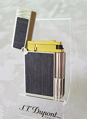 St Dupont Lighter 18K Gold Plated Silver Gatsby Two 2 Tone Black Wood Rare