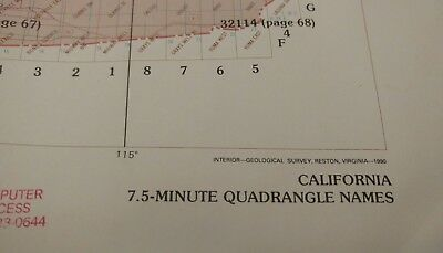 LARGE Map California 7.5-Minute Quadrangle Names apx 42 x 47  8 Pictures VG+++