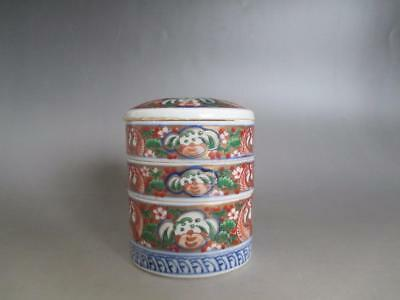 Japanese old Imari multitiered bowl/ hand-painting/ tasteful small size/ 7247