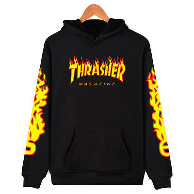 XXW Skater Thrasher Flame Print Cool Cotton Hoodies,Unisex, Peace and Love!