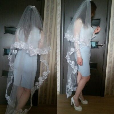 One Layer Cathedral Length Lace Long Wedding Bridal Veils White Ivory Hair Veils