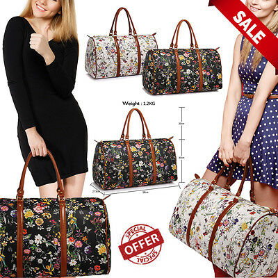 New Women's Designer Style Floral Weekend large travel Bag Ladies Hand Luggage
