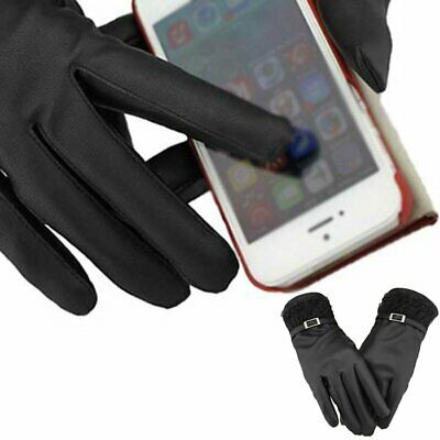 Women Lady Leather Thermal Touch Screen Lace Driving Gloves F Smartphones Black