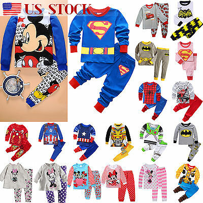 US 2PCS Kids Baby Boy Girl Pajamas Sleepwear Nightwear Cartoon Clothes Pjs Set