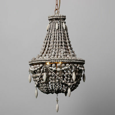 Vintage Industrial Chandelier Farmhouse Distressed Wood Bead Basket Pendant Lamp