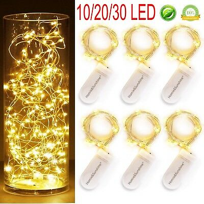 30 LED Christmas Button Cell Powered Silver Copper Wire Mini Fairy String Lights
