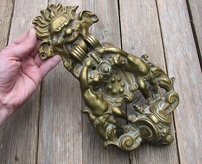Large and Heavy Reclaimed Solid Brass Door Knocker / Cherubs 11""