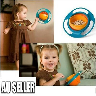 Toddler Gyro Bowl Non Spill Feeding 360 Rotating Baby Kids Avoid Spilling 2017