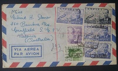 RARE 1951 Spain Airmail Cover ties 6 stamps canc La Coruña to Australia