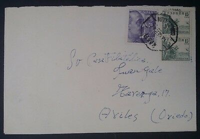 SCARCE 1944 Spain Cover ties 3 stamps cancelled La Coruña to Avilés