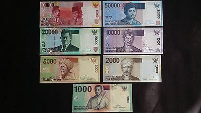 INDONESIA 100000 50000 20000 10000 5000 2000 1000 Rupiah 7 x UNC Banknotes