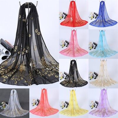 Women Scarf Long Peacock Print Chiffon Neck Wrap Sheer Shawl Stole Scarves PT