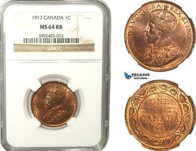 AB247, Canada, George V, 1 Cent 1917, NGC MS64RB