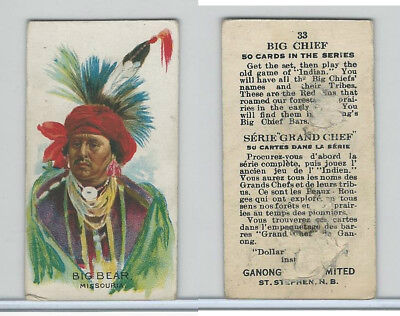 V118 Ganong Bros., Big Chiefs, Indians, 1939, #33 Big Bear, Missouria