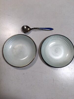 David Andersen Sterling Silver and White Guilloche Enamel Salt Dish Bowls