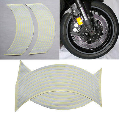 "18""  Wtite Stickers Reflective Car Motorcycle Rim Stripe Wheel Tape Decal TK"