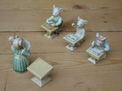 Vintage German Porcelain School Mice Teacher Desk Three Pupils Collectable