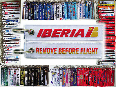 Keyring IBERIA Spanish Airline CLASSIC Remove Before Flight tag keychain
