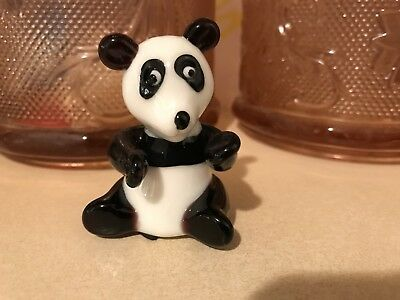 Fitz & Floyd Crystal Glass Figurine with Sticker Panda Bear