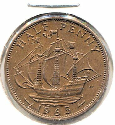 Great Britain 1965 Half Penny Coin - United Kingdom England Queen Elizabeth II