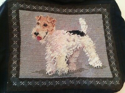 Beautiful Wire Fox Terrier Needlepoint pillow cover or seat cover
