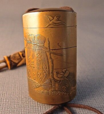 19TH Century Gold Lacquer Inro with Netsuke and Ojime