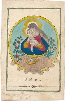 Andachtsbild santino Mar. Hilf Hand  Coloriert St. v. Remele  1822