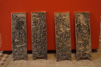Set of 4 Very Heavy Silver White Metal Vintage Chinese Ingot Tablet Trade Tokens