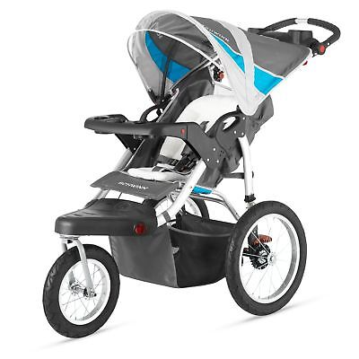 Baby Stroller Canopy Mounted Speakers Aluminum Frame Front Wheel Lock Grey Blue