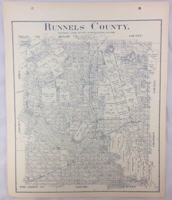 Antique General Land Office Map Runnels County Texas Showing Plats ++